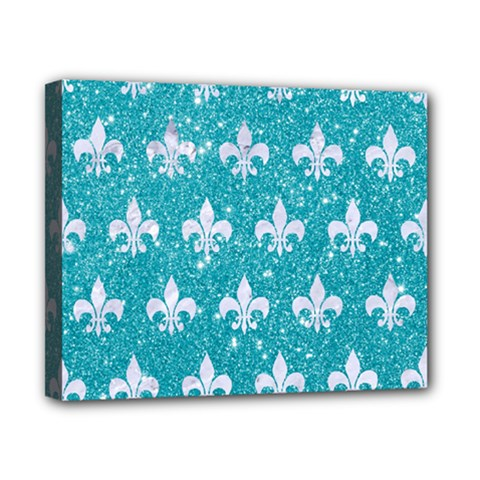 Royal1 White Marble & Turquoise Glitter (r) Canvas 10  X 8  by trendistuff
