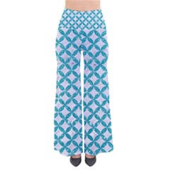 Circles3 White Marble & Turquoise Glitter (r) Pants by trendistuff