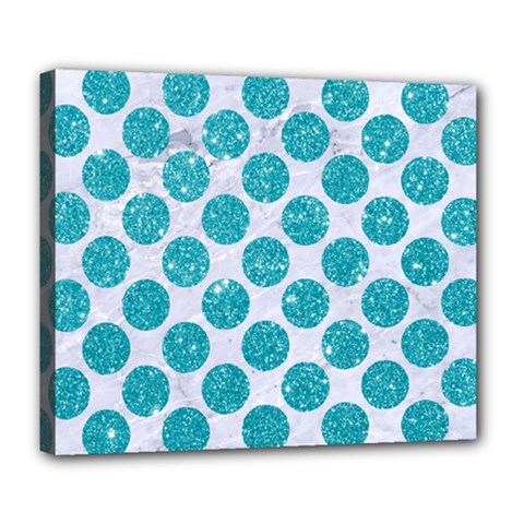 Circles2 White Marble & Turquoise Glitter (r) Deluxe Canvas 24  X 20   by trendistuff