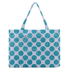 Circles2 White Marble & Turquoise Glitter (r) Zipper Medium Tote Bag by trendistuff
