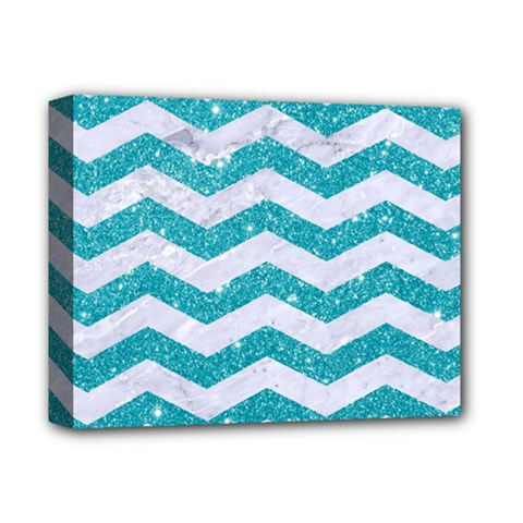 Chevron3 White Marble & Turquoise Glitter Deluxe Canvas 14  X 11  by trendistuff