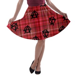 Red Plaid Anarchy A Line Skater Skirt