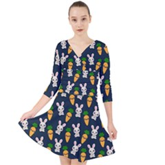 Easter Kawaii Pattern Quarter Sleeve Front Wrap Dress by Valentinaart