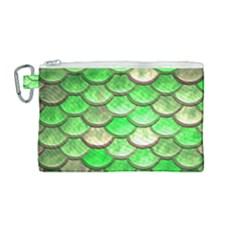 Green Mermaid Scale Canvas Cosmetic Bag (medium) by snowwhitegirl