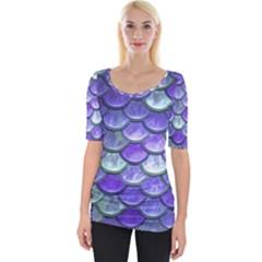 Blue Purple Mermaid Scale Wide Neckline Tee by snowwhitegirl
