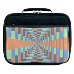 Fabric 3d Color Blocking Depth Lunch Bag by Nexatart