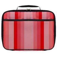Red Monochrome Vertical Stripes Full Print Lunch Bag by Nexatart
