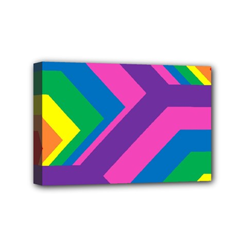 Geometric Rainbow Spectrum Colors Mini Canvas 6  X 4  by Nexatart