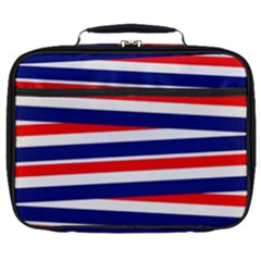 Red White Blue Patriotic Ribbons Full Print Lunch Bag by Nexatart