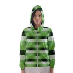 Pinstripes Green Shapes Shades Hooded Wind Breaker (women) by Nexatart