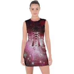 Nebula Red Lace Up Front Bodycon Dress by snowwhitegirl