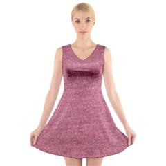 Pink  Denim V Neck Sleeveless Skater Dress by snowwhitegirl