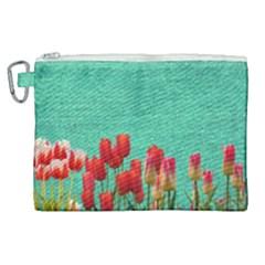 Green Denim Flowers Canvas Cosmetic Bag (xl) by snowwhitegirl