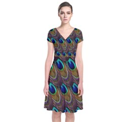 Peacock Feathers Bird Plumage Short Sleeve Front Wrap Dress by Nexatart