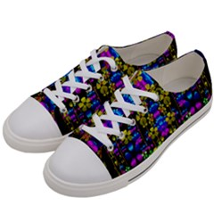 Flowers In The Most Beautiful  Dark Women s Low Top Canvas Sneakers by pepitasart