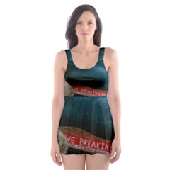 Breaking News Skater Dress Swimsuit by redmaidenart