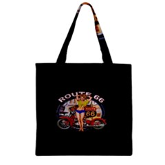 Route 66 Zipper Grocery Tote Bag by ArtworkByPatrick