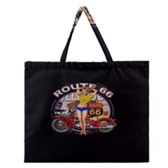 Route 66 Zipper Large Tote Bag by ArtworkByPatrick
