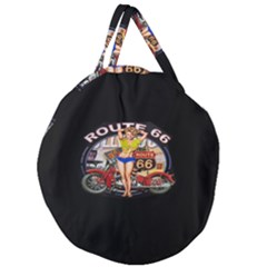 Route 66 Giant Round Zipper Tote by ArtworkByPatrick