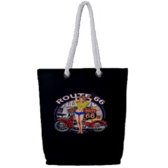Route 66 Full Print Rope Handle Tote (small) by ArtworkByPatrick
