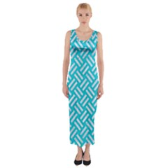 Woven2 White Marble & Turquoise Colored Pencil Fitted Maxi Dress by trendistuff