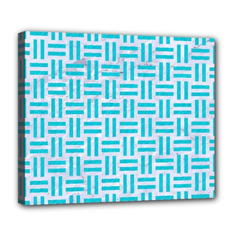 Woven1 White Marble & Turquoise Colored Pencil (r) Deluxe Canvas 24  X 20   by trendistuff
