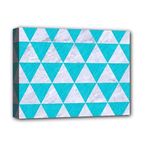 Triangle3 White Marble & Turquoise Colored Pencil Deluxe Canvas 16  X 12   by trendistuff