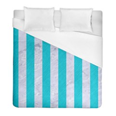 Stripes1 White Marble & Turquoise Colored Pencil Duvet Cover (full/ Double Size) by trendistuff