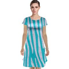 Skin4 White Marble & Turquoise Colored Pencil (r) Cap Sleeve Nightdress