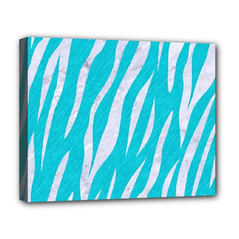 Skin3 White Marble & Turquoise Colored Pencil Deluxe Canvas 20  X 16   by trendistuff