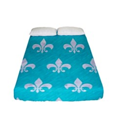 Royal1 White Marble & Turquoise Colored Pencil (r) Fitted Sheet (full/ Double Size) by trendistuff