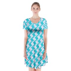 Houndstooth2 White Marble & Turquoise Colored Pencil Short Sleeve V Neck Flare Dress