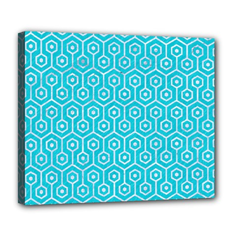 Hexagon1 White Marble & Turquoise Colored Pencil Deluxe Canvas 24  X 20   by trendistuff