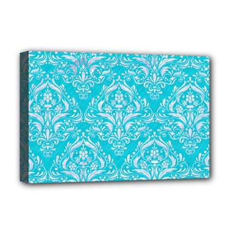 Damask1 White Marble & Turquoise Colored Pencil Deluxe Canvas 18  X 12   by trendistuff
