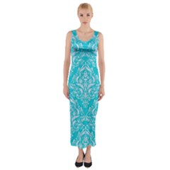 Damask1 White Marble & Turquoise Colored Pencil Fitted Maxi Dress by trendistuff