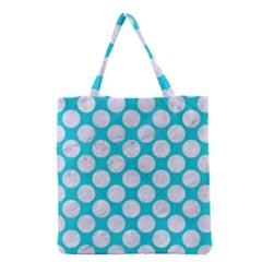 Circles2 White Marble & Turquoise Colored Pencil Grocery Tote Bag by trendistuff