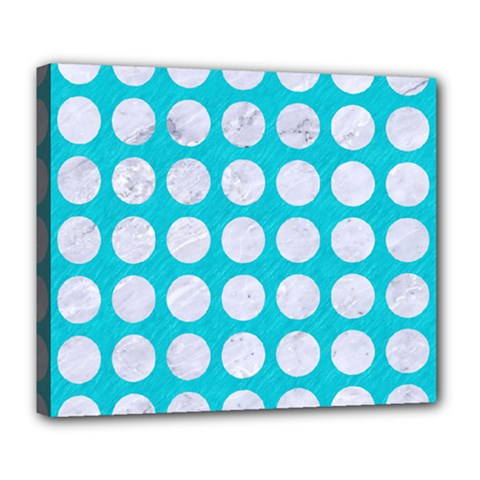 Circles1 White Marble & Turquoise Colored Pencil Deluxe Canvas 24  X 20   by trendistuff