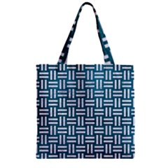 Woven1 White Marble & Teal Leather Zipper Grocery Tote Bag by trendistuff