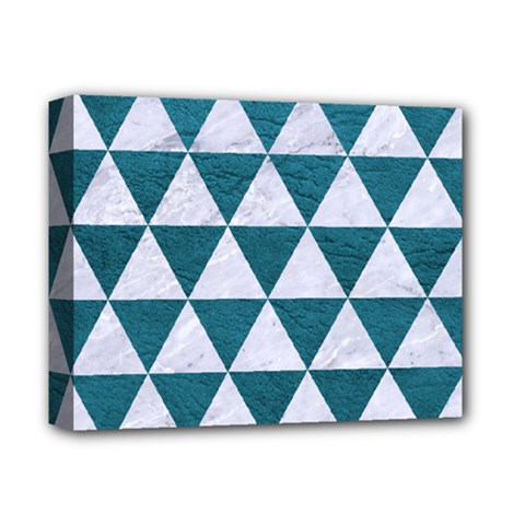 Triangle3 White Marble & Teal Leather Deluxe Canvas 14  X 11  by trendistuff