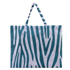 Skin4 White Marble & Teal Leather Zipper Large Tote Bag by trendistuff