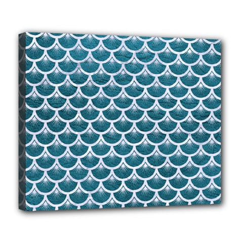 Scales3 White Marble & Teal Leather Deluxe Canvas 24  X 20   by trendistuff
