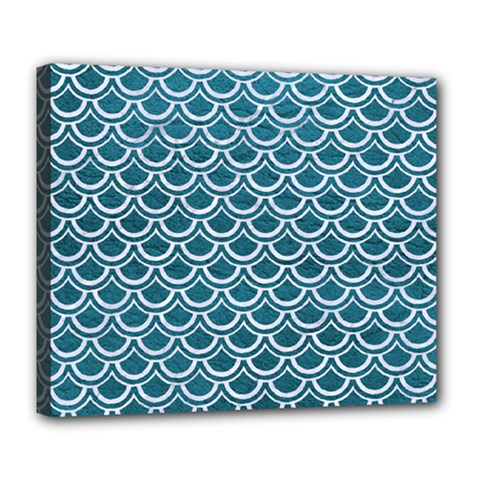 Scales2 White Marble & Teal Leather Deluxe Canvas 24  X 20   by trendistuff