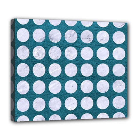Circles1 White Marble & Teal Leather Deluxe Canvas 24  X 20   by trendistuff