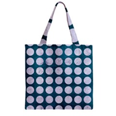 Circles1 White Marble & Teal Leather Zipper Grocery Tote Bag by trendistuff
