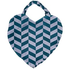 Chevron1 White Marble & Teal Leather Giant Heart Shaped Tote by trendistuff