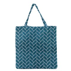 Brick2 White Marble & Teal Leather Grocery Tote Bag by trendistuff