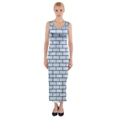 Brick1 White Marble & Teal Leather (r) Fitted Maxi Dress by trendistuff