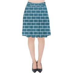 Brick1 White Marble & Teal Leather Velvet High Waist Skirt by trendistuff