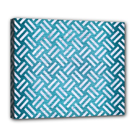 Woven2 White Marble & Teal Brushed Metal Deluxe Canvas 24  X 20   by trendistuff