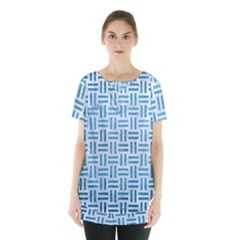 Woven1 White Marble & Teal Brushed Metal (r) Skirt Hem Sports Top